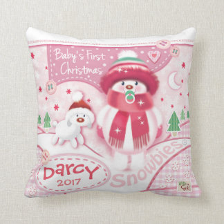 Cute Baby's First Christmas Pillow for Girls
