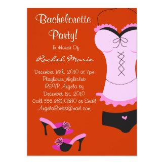 """Cute Bachelorette Party 6.5"""" X 8.75"""" Invitation Card"""