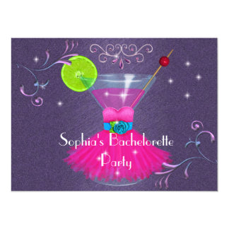 Cute Bachelorette Party Invitations with Dress & C