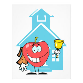 cute back to school cartoon character apple personalized flyer