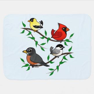 Cute Backyard Birds Baby Blanket
