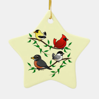 Cute Backyard Birds Christmas Ornament
