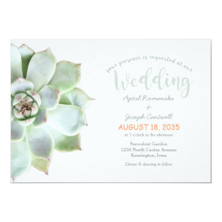 Cute Backyard Succulent Cactus Wedding Invitation