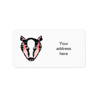 Cute Badger Face Address Label