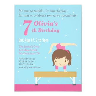 Cute Balance Beam Gymnastics Girl Birthday Party 11 Cm X 14 Cm Invitation Card