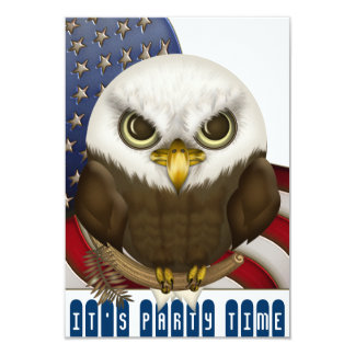 "Cute Bald Eagle Patriotic Celebration Mini 3.5"" X 5"" Invitation Card"