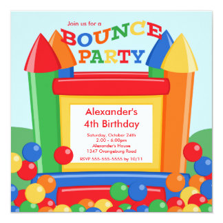 Cute Ball Pit Bounce House Birthday Party 13 Cm X 13 Cm Square Invitation Card
