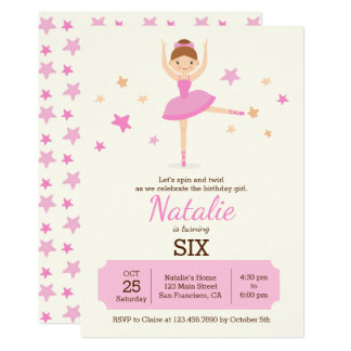 Cute Ballerina Birthday Party Invitation