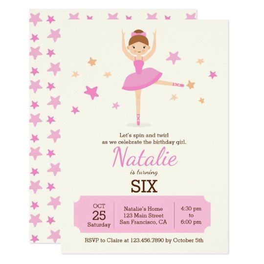 Cute Ballerina Birthday Party Invitation