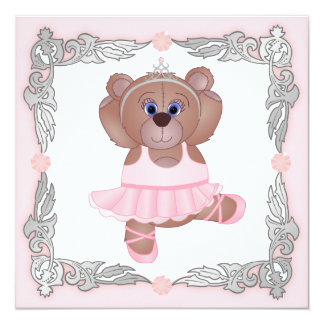 Cute Ballerina Cartoon Teddy Bear Birthday Party Invitation