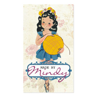 Cute ballerina girl knitting crochet ball of yarn pack of standard business cards