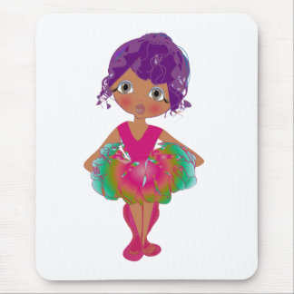 Cute Ballerina in Pink and Green Tutu Art Mouse Pad