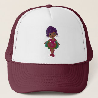 Cute Ballerina in Pink and Green Tutu Art Trucker Hat