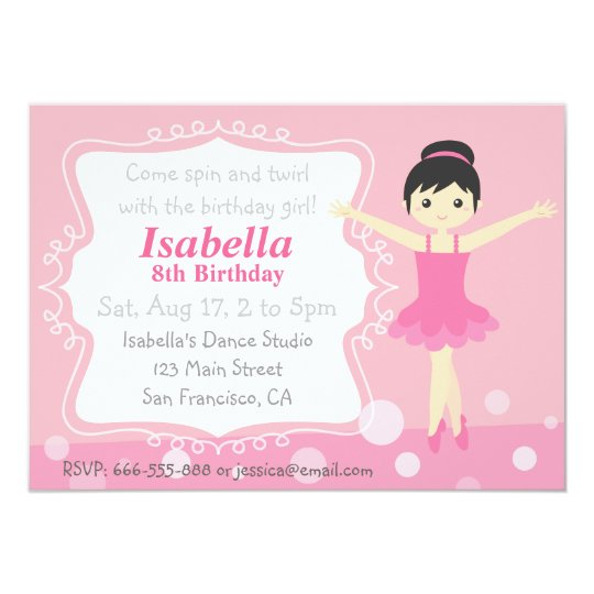Cute Ballerina in Pink, Girl Birthday Party Card