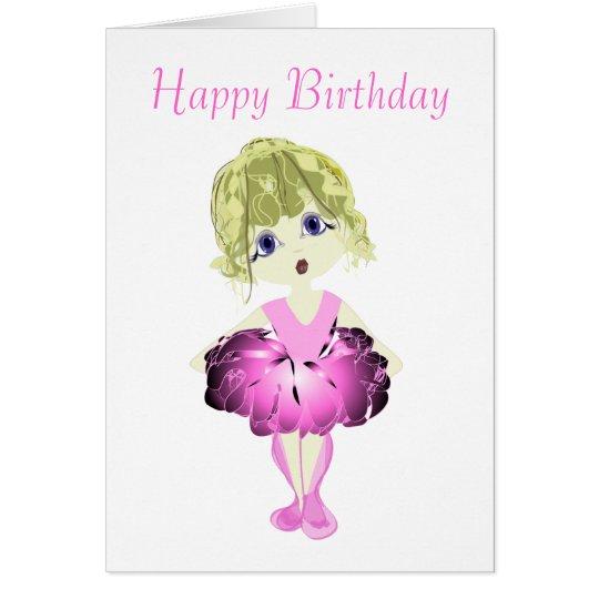 Cute Ballerina in Pink Tutu Art Card