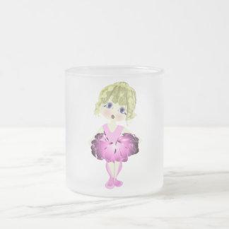 Cute Ballerina in Pink Tutu Art Gifts Frosted Glass Coffee Mug