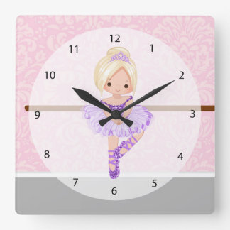 Cute ballerina square wall clock