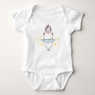Cute ballerina unicorn dancing with yellow stars baby bodysuit