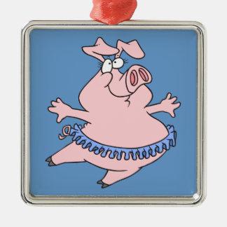 cute ballet ballerina piggy in a tutu pig Silver-Colored square decoration