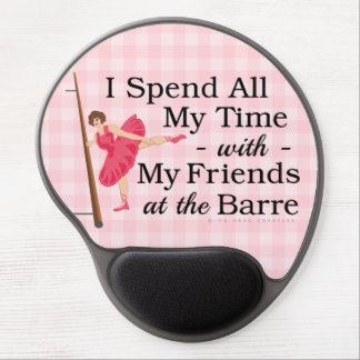Cute Ballet Barre Funny Ballerina Dancer Gingham Gel Mouse Pad