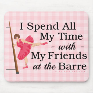 Cute Ballet Barre Funny Ballerina Dancer Gingham Mouse Pad