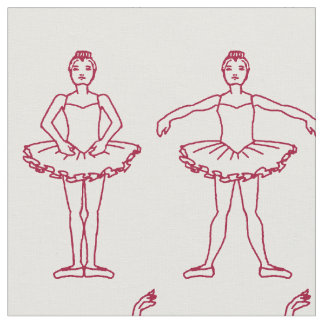 Cute Ballet Positions Pattern Fabric