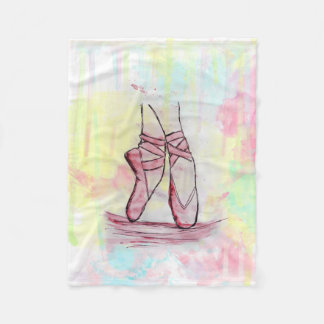 Cute Ballet shoes sketch Watercolor hand drawn Fleece Blanket
