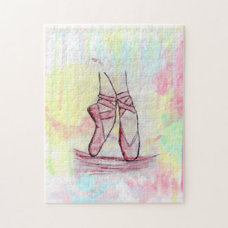 Cute Ballet shoes sketch Watercolor hand drawn Jigsaw Puzzle