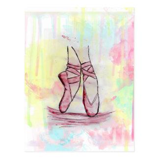 Cute Ballet shoes sketch Watercolor hand drawn Postcard
