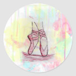 Cute Ballet shoes sketch Watercolor hand drawn Round Sticker