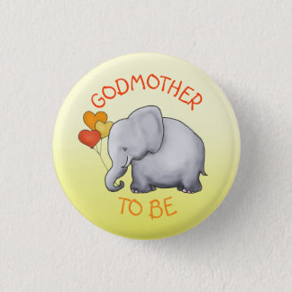 Cute Balloons Elephant Baby Shower Godmother-To-Be 3 Cm Round Badge