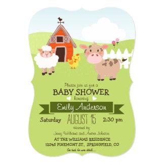 Cute Barn & Farm Animals Farmer Theme Baby Shower 13 Cm X 18 Cm Invitation Card