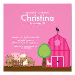 Cute Barn Yard Farm Animals Birthday Party Invite
