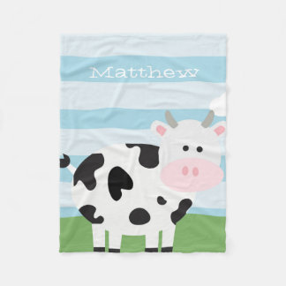 Cute Barnyard Cow Fleece Blanket