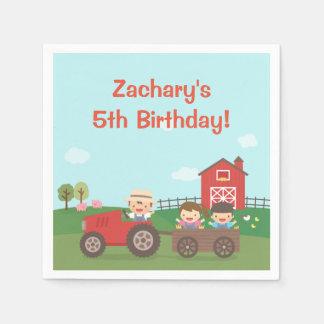 Cute Barnyard Tractor Kids Birthday Party Napkins Disposable Napkin