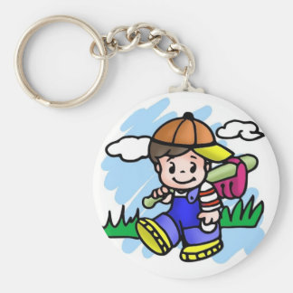 Cute Baseball Kid Key Ring