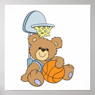 Cute Basketball Bear Poster