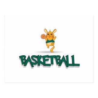 cute basketball creature mascot design postcard
