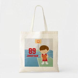 Cute basketball player design budget tote bag