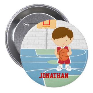 Cute basketball player red basketball jersey pinback buttons