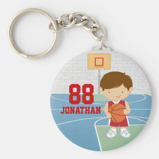 Cute basketball player red basketball jersey basic round button key ring
