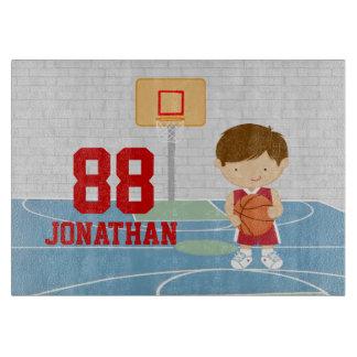 Cute basketball player red basketball jersey cutting board