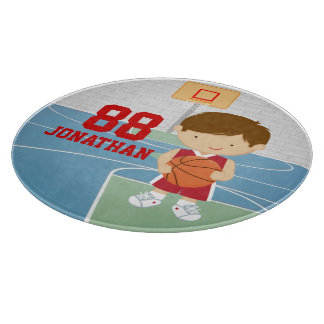 Cute basketball player red basketball jersey cutting boards