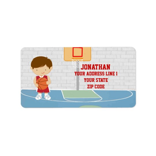 Cute basketball player red basketball jersey label