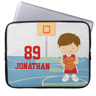 Cute basketball player red basketball jersey computer sleeve