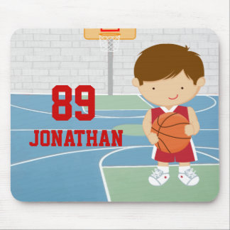 Cute basketball player red basketball jersey mouse mat
