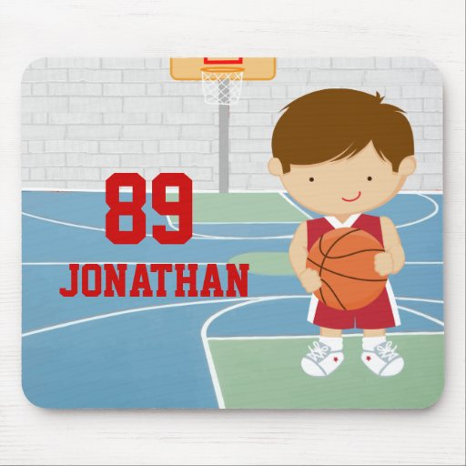 Cute basketball player red basketball jersey mouse pads
