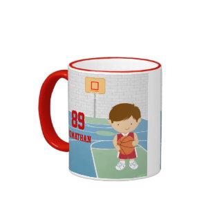 Cute basketball player red basketball jersey ringer coffee mug