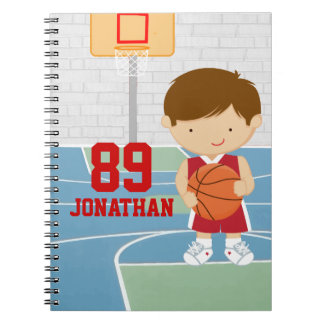 Cute basketball player red basketball jersey spiral note books