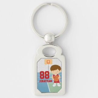 Cute basketball player red basketball jersey key chains